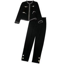 Ensemble veste et pantalon en velours pour femme, élégant, Vintage, à manches longues, très bonne qualité, collection automne hiver 2020