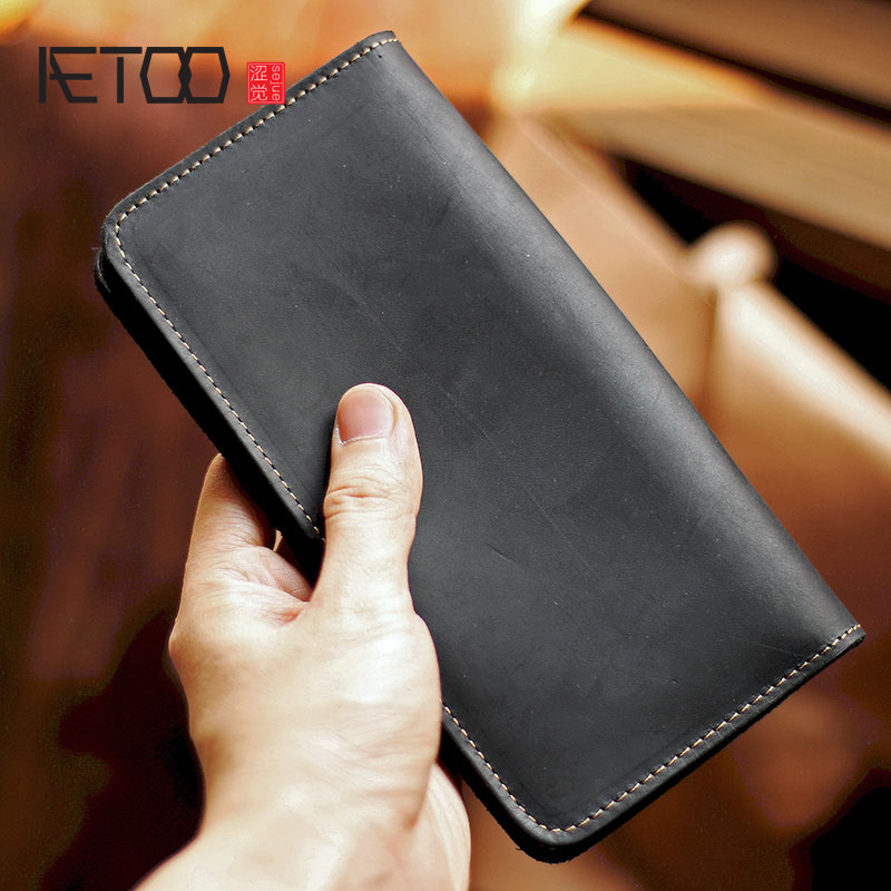 AETOO Mad Horseleather Men's Handmade Vintage Long Wallet, Leather Large Zipper Wallet, Men's Leather Phone Bag