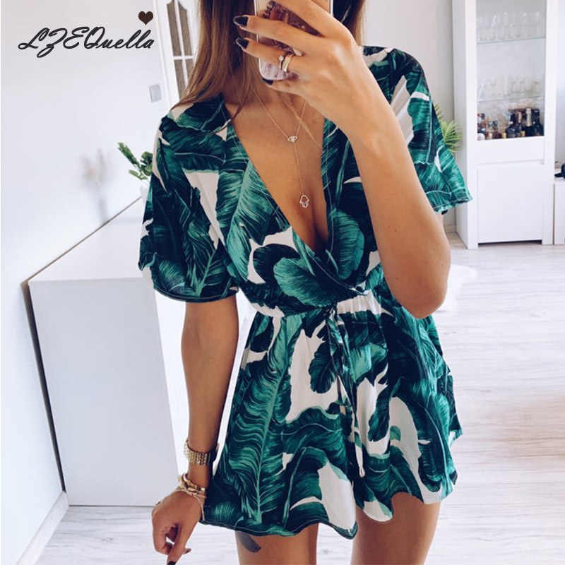 Summer Jumpsuit For Women Sexy Leaf deep v neck Overalls casual ruffles sleeve Bandage Playsuits Combishort body Femme