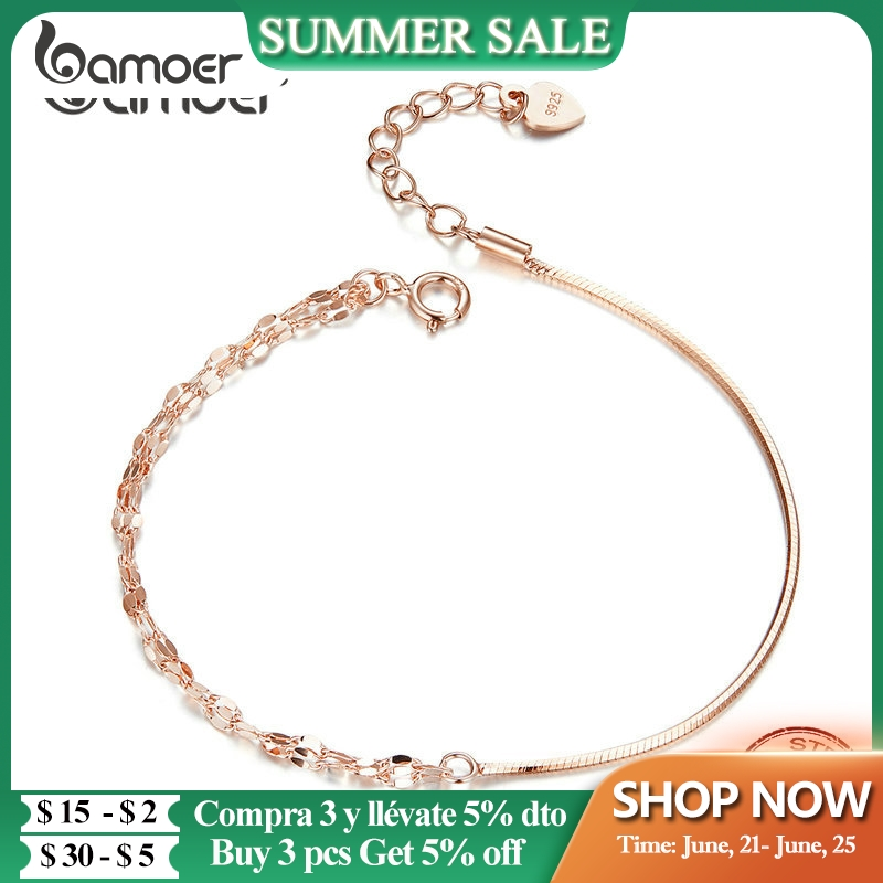 bamoer Basic Rose Gold Color Silver Bracelet Cable Box Chain Lobster Lock Bracelets Sterling Silver Jewelry Match Joker SCB149