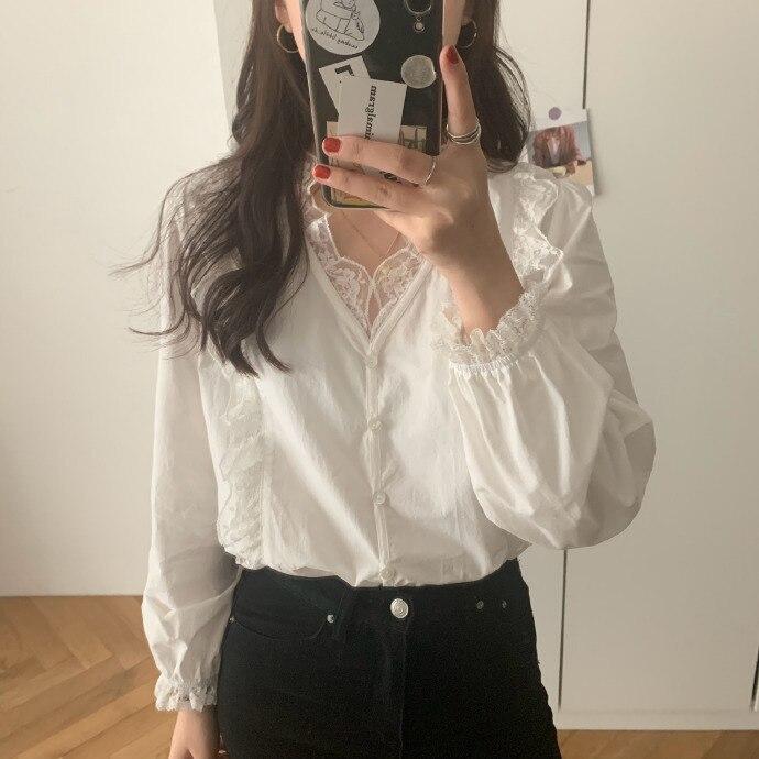 Heygirl noir élégant à manches longues sous vêtements dentelle Blouse femmes style coréen mince fée hauts 2019