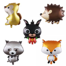 1pc Cartoon Animals Foil Helium Balloons Happy Birthday Decorations Kids  Squirrel Raccoon Party Supplies Globos Inflatable Toys hot sale forest animals happy daily life squirrel fox deer good friends party fairy cartoon tales pillow case