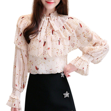 Women Prin Blouses 2019 Autumn New Korean Version Bow Collar Chiffon Temperament Ruffle Shirts Long Sleeve 687B7