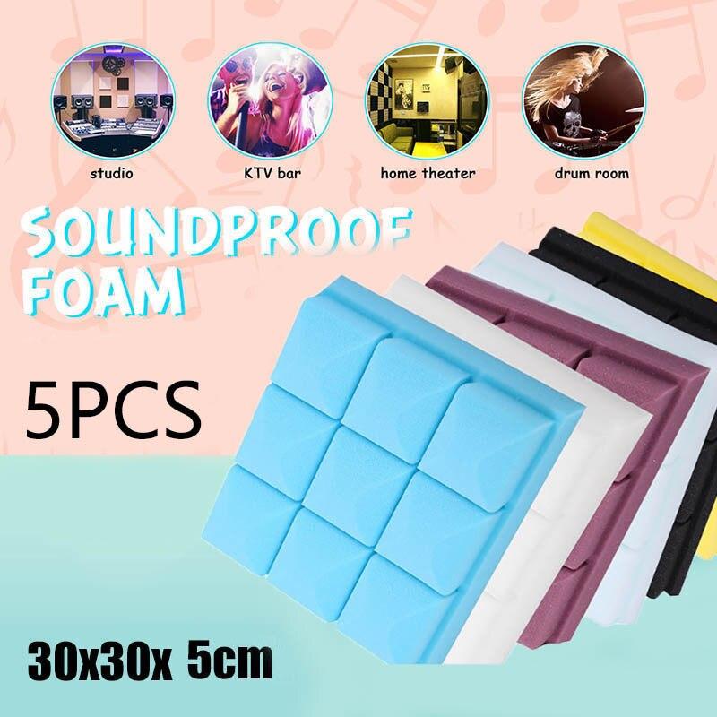 5PCS 30x30x5cm Studio Acoustic Soundproofing Foam Sound Absorption Treatment Panel Tile Wedge Protective Sponge
