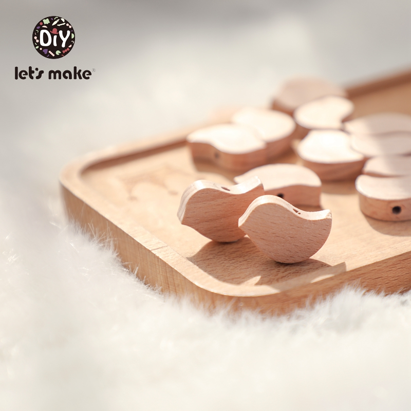 Let's Make Wooden Rodent Beads Teething 10pcs Heart Bird BPA Free Beech DIY Accessories Pendant For Pacifier Wooden Toys Baby