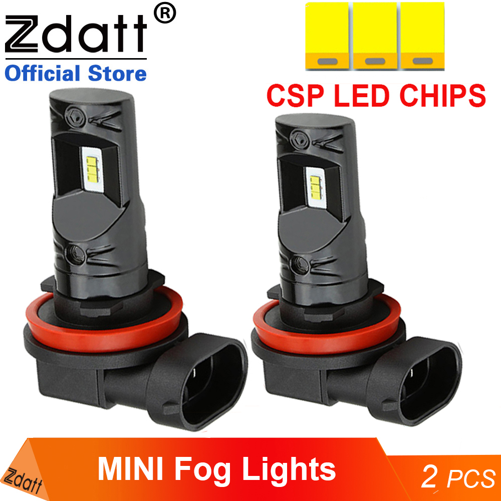 Zdatt H11 H8 <font><b>LED</b></font> Car Fog <font><b>Light</b></font> <font><b>Bulbs</b></font> <font><b>H4</b></font> H1 H9 H16 9005 9006 H102800Lm 6000K White Auto Foglamp 2Pcs image