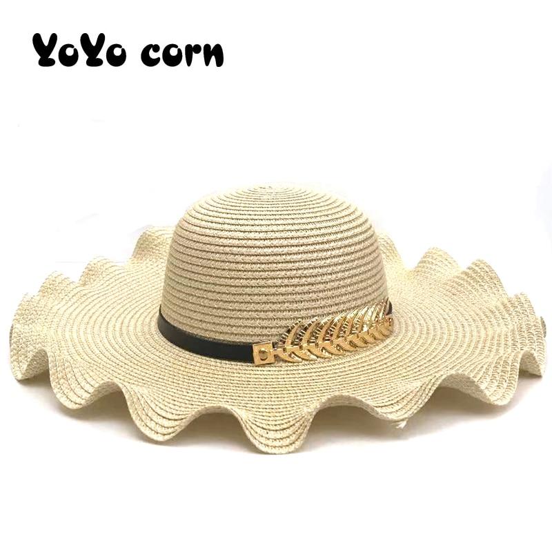 Shade Caps Black belt curled golden leaves Sun cap Wide Brim Floppy Summer Hats For Women Beach Panama Straw Dome Bucket Hat