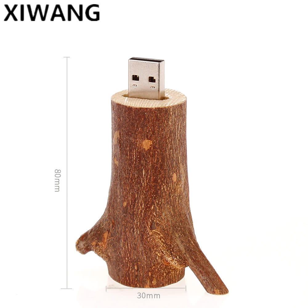 Image 2 - Natural wood branch usb memory stick 128gb newest USB flash drive pendrive 2.0 4GB 8GB pen drive 16GB 32GB 64GB Free custom logo-in USB Flash Drives from Computer & Office