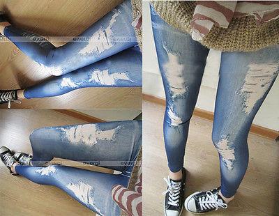 Ripped Jeans Legging Render Pants Leggings Hotwomen Denim Tight Slim Pencil Pants