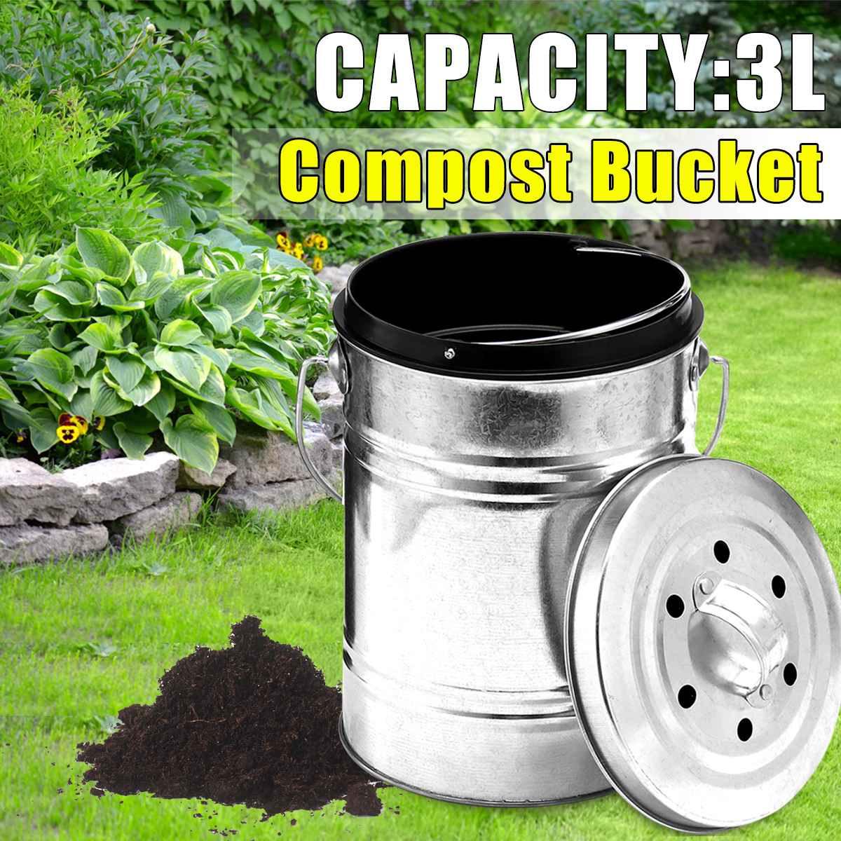 3L Cubo de Compost de cocina, Cubo de Compost al aire libre cubo para abono de encimera sin olor de interior filtro de carbón negro Cubo de reciclaje Pail