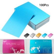 100 pcs 블랙 실버 alumium 합금 카드 레이저 새겨진 금속 비즈니스 방문 이름 카드 공백 0.22mm 두께 3.4x2.1 인치