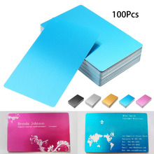 100 قطعة الفضة السوداء سبائك الألومنيوم بطاقة الليزر محفورة المعادن الأعمال زيارة اسم بطاقات الفراغات 0.22 مللي متر سمك 3.4x2.1 بوصة