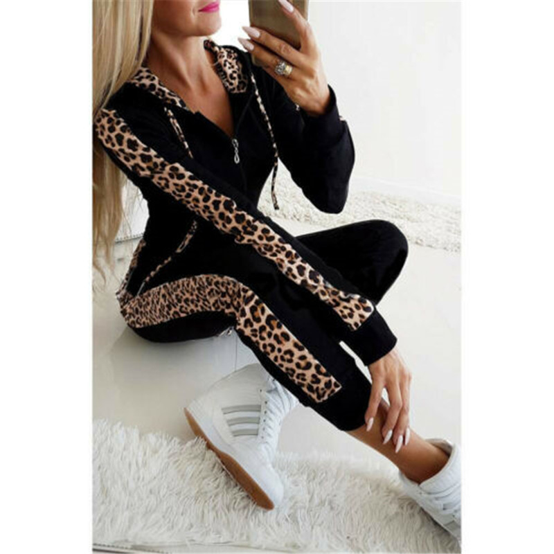 Fashion Women Tracksuit Long Pant Suit Set Autumn Winter Leopard Print Pocket Zipper Fleece Hoodies Sweatshirt Coat Women Set