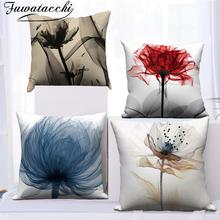Fuwatacchi różowy biały wzór prezent poszewki na poduszki kwiat wzór pokrowiec na poduszkę dla domowa Sofa dekoracyjne poszewka narzuta 45*45cm tanie tanio CN (pochodzenie) Drukowane Zwykły Dzianiny Floral Plac Seat Chair Samochód FPC000653 Poliester bawełna Pillow Cover Cushion Cover