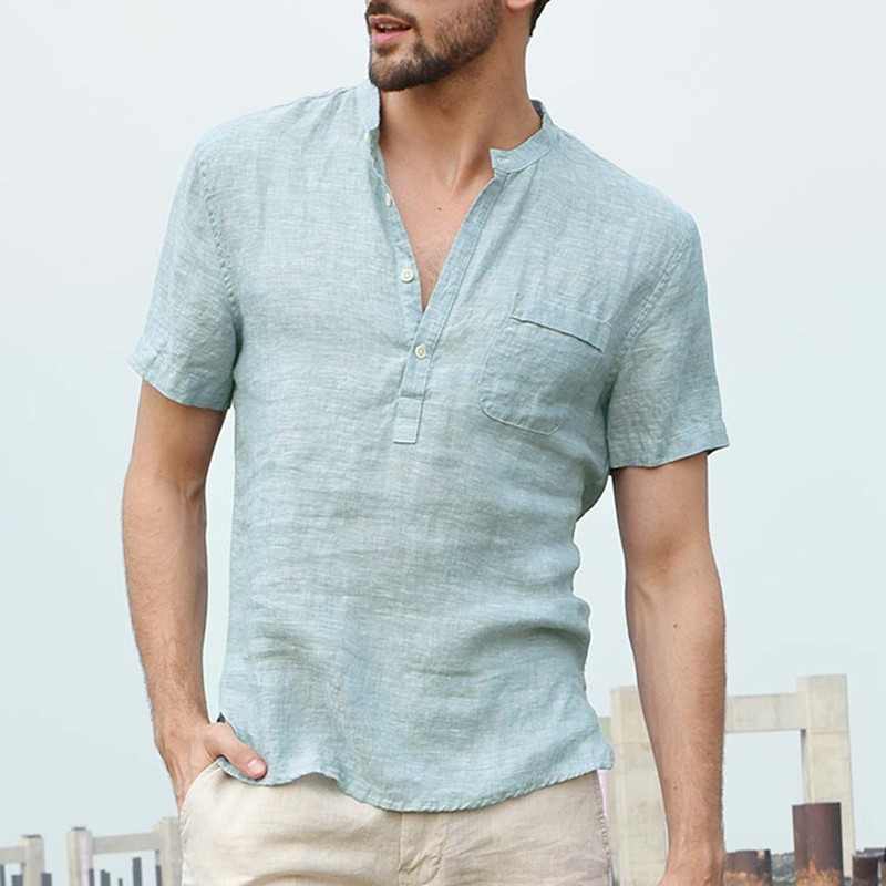 2019 New Summer Male Short Sleeve Shirt Fashion Brand Linen Shirts Collar Casual Blouse Hawaiian Men Shirt Comfort Soft