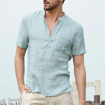 2019 New Summer Male Short Sleeve Shirt Fashion Brand Linen Shirts Collar Casual Blouse Hawaiian Men Shirt Comfort Soft men shirt summer new casual slim fit short sleeve hawaii shirt quick dry printed beach shirt male top blouse hawaiian shirt men