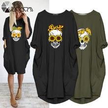 Размера плюс женское платье миди с подсолнухом и принтом «череп»