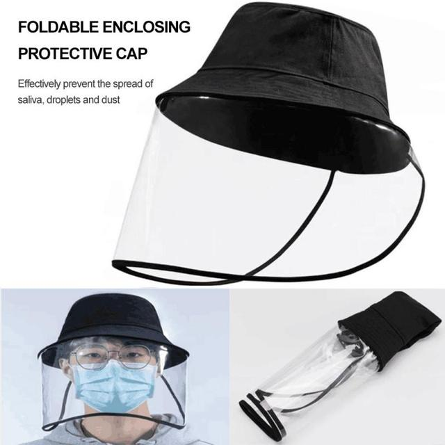 New Anti-fog Saliva Face Masks Windproof Fisherman Hat Removable Protection Cap Protective Face Shield Foldable Transparent Mask 4