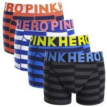 2020 novos heróis rosa de alta qualidade dos homens boxer shorts roupa interior algodão confortável masculino calcinha moda listrado homem cueca