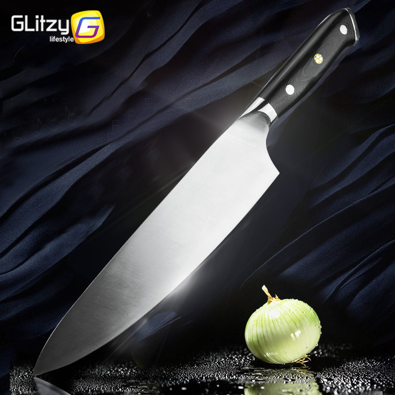 Kitchen Knife 8 Inch Chef Knif 7Cr17 440C High Carbon Stainless Steel German G10 Handle Santoku Meat Cleaver Knife Cooking Tool