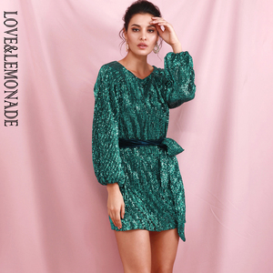 Image 4 - LOVE&LEMONADE Green Loose Lantern Sleeve Pleated Sequins Mini Dress (With Belt) LM82165