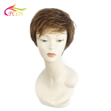 цена на Synthetic Capless Wig Brown Pixie Cut Hair Asymmetrical Side Bang Short Curly Wigs for women
