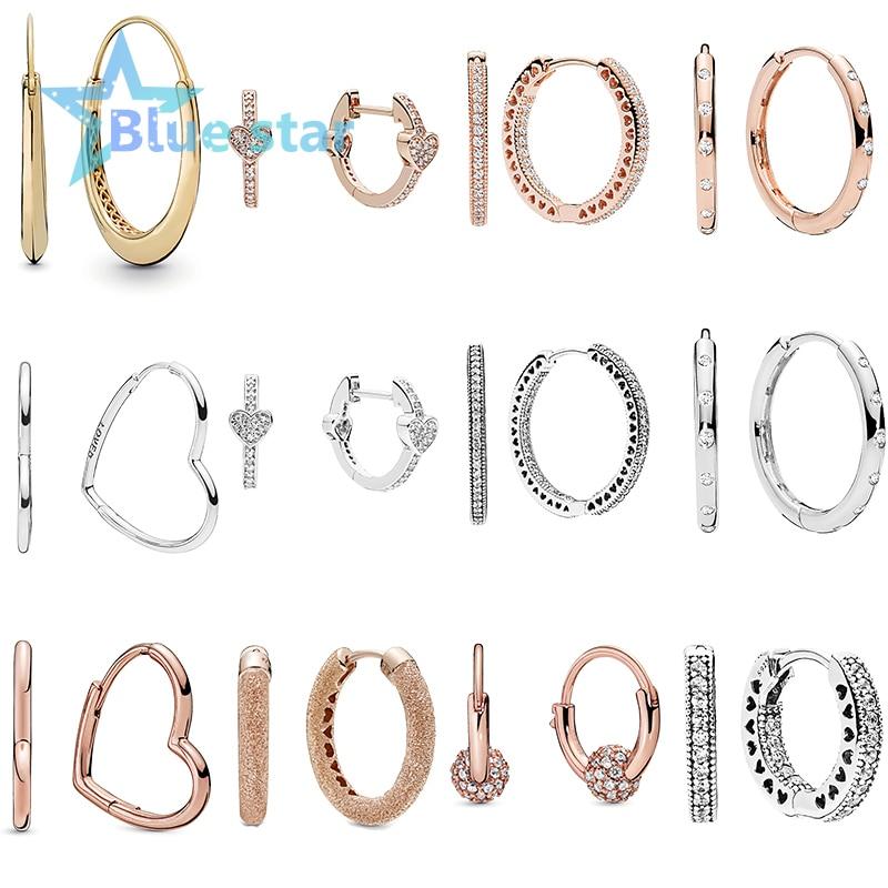 Bule Star 100% 925 Sterling Silver  Chunky Hoop Asymmetric Hearts Of Love Droplets Hoop Earrings