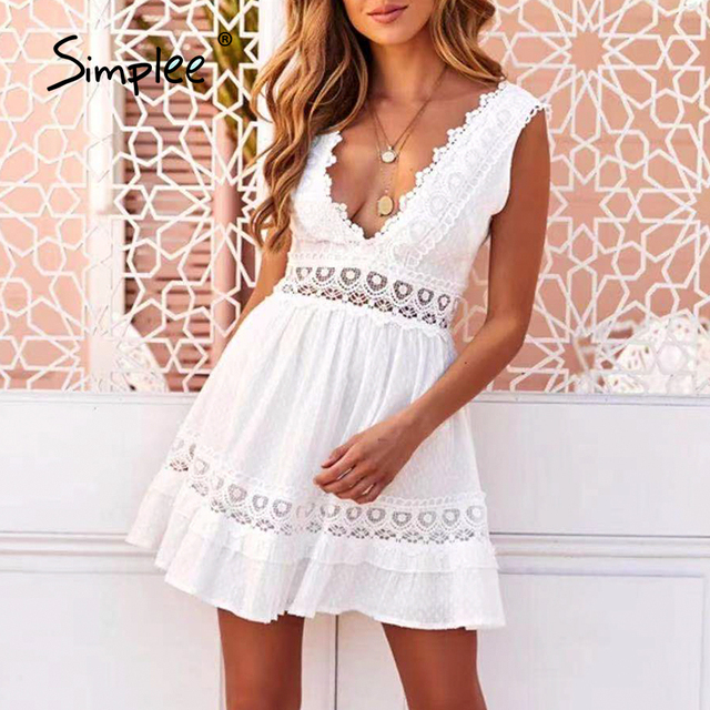 Simplee Sexy V-neck White Stitching Mini Dress Casual Sleeveless Lace Summer Women Beach Dress Backless Embroidered A-line Dress 1