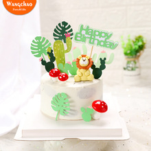 Lion Cake Topper Green Forest Cactus Theme Happy Birthday Decoration Kids Favors Safari Party Supplies