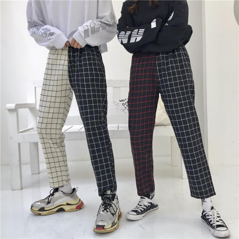Neploe Vintage Plaid Patchwork Pants Harajuku Woman Man Trousers Elastics High Waist Pants Korean Causal Straight Checkerboard 2