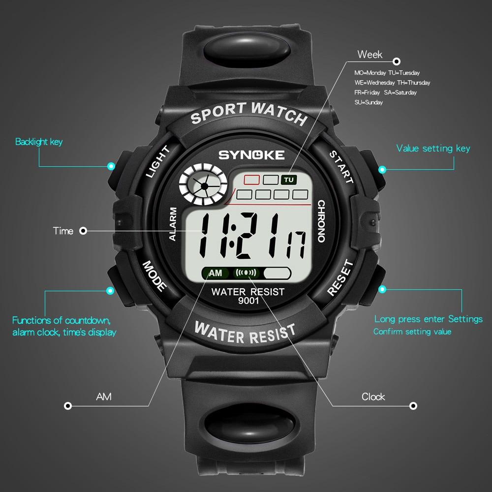 Водонепроницаемый дети мальчики многофункциональный 30M водонепроницаемый часы светодиодный цифровой двойной часы будильник дата дети электронные часы Q