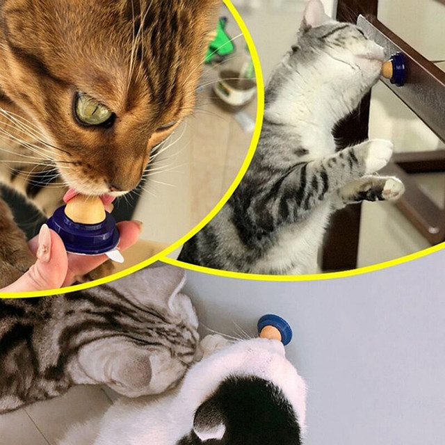 1pcs Healthy Cat Snacks Catnip Sugar Candy Licking Nutrition Gel Energy Ball Toy For Cats Kittens Playing Pet Cat Products NEW 3