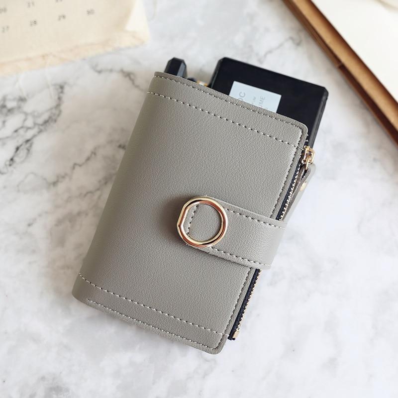 Женские кошельки, Маленький модный брендовый кожаный кошелек для женщин, женская сумка для карт, клатч, Женский кошелек, кошелек с зажимом для денег - Цвет: Gray