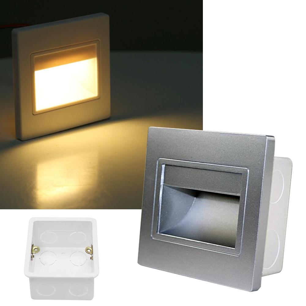 86 type Ressessed in 0.6W 1.5W LED Stair Light motion Detector+ Light sensor led wall lights step stairway lamp lighting