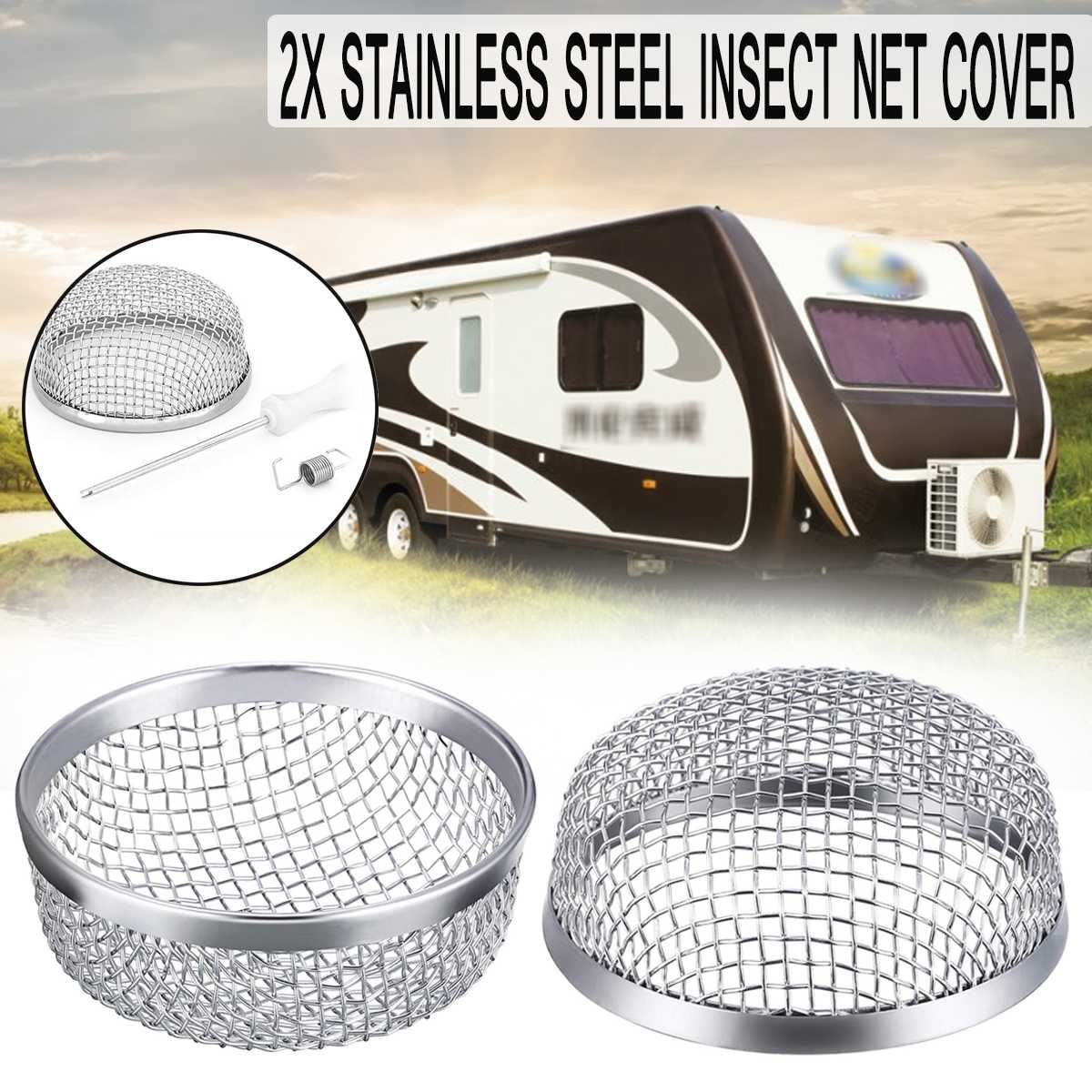 2pcs Stainless Steel Flying Insect Screen Bug Screen RV Furnace Vent Replacement Camper-Heater Exhaust Screen Cover Mesh