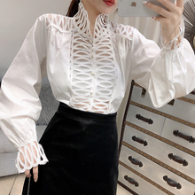 SexeMara 2019 Autumn New Turtleneck Full Lantern Sleeve Stripe Hollow Out Solid Color Ladies Fashion Loose Shirt CST111