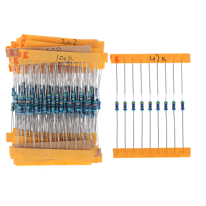 300pcs/set Metal 30 Kinds 1/4W Resistance 1% Film Resistor Pack Assorted Kit 1K 10K 100K 220ohm 1M Resistors 300pcs/set