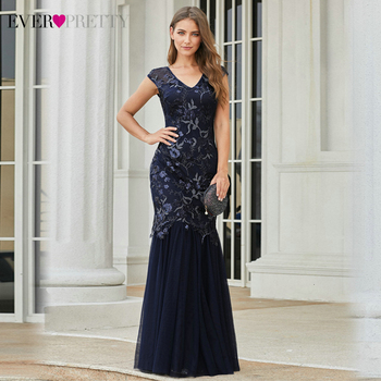 Elegant Navy Blue Evening Dresses Ever Pretty V-Neck Sequined Sleeveless Embroidery Tulle Mermaid Party Gowns Vestido Longo 2020