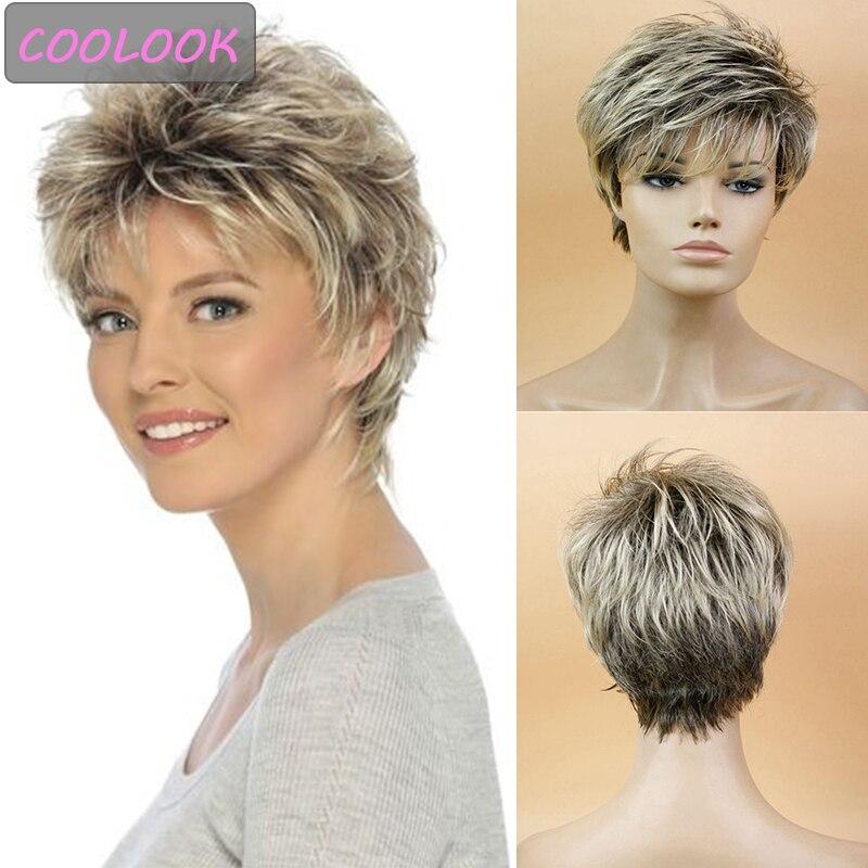 Парик женский прямой синтетический с короткими волосами, с боковой челкой, блонд, коричневый, с эффектом омбре, для косплея Синтетические парики для косплея    АлиЭкспресс