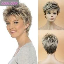 Peluca de cabello Natural corto sintético con flequillo lateral para mujer, pelo liso Bob peludo, corte Pixie, color rubio degradado, color marrón