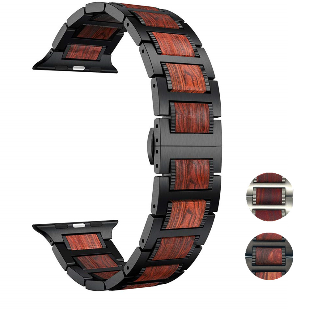 Wood strap for Apple watch band 5 4 44mm 40mm iWatch 3 band 42mm 38 mm bracelet Natural Red Sandalwood+Stainless steel watchband   Watchbands