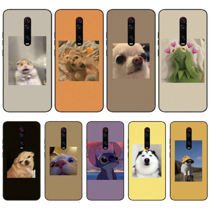 LJHYDFCNB Aesthetic Cartoon Soft Silicone Black Phone Case For Redmi K20 Note4 4X 5 5A 6 6PRO 7 8 8PRO Cover