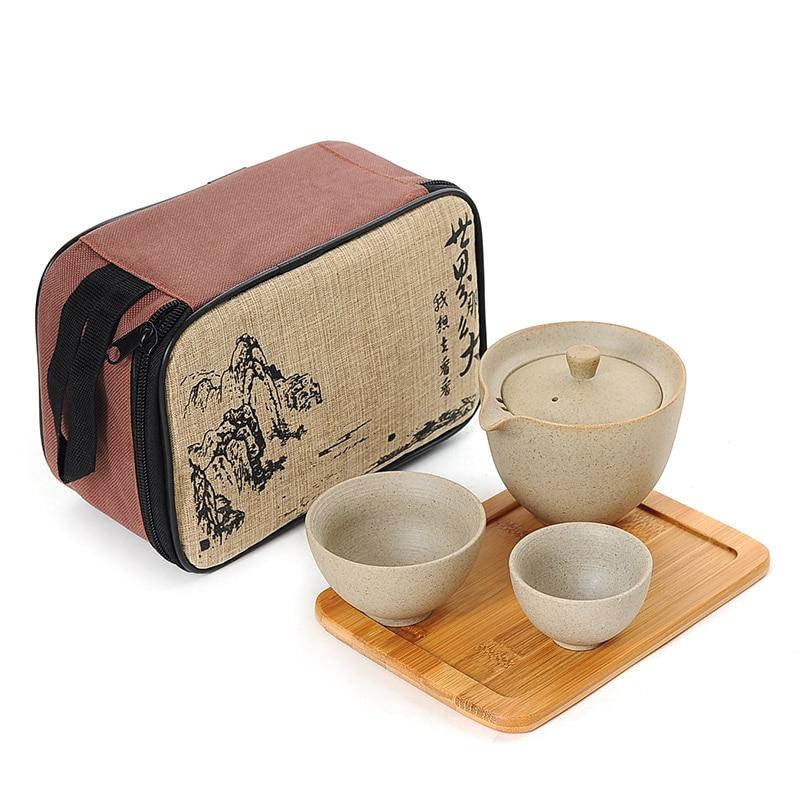 Ceramic Teapot Portable Tea Set Travel Portable Teaware  Chinese Gaiwan For Kung Fu Tea Home Coffee Tableware Vintage  WJ10296