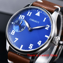 Corgeut 44mm Watch Men 17 Jewels Hand Winding 6497 Movement Luminous Waterproof Mechanical Wristwatches Leather Strap
