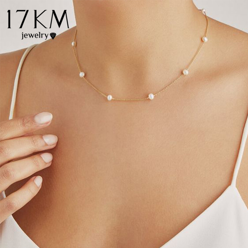 17KM Vintage Pearl Choker Necklaces For Women 2020 Crystal Star Chain Necklace Trendy Beads Pearl Chokers New Jewelry Gift