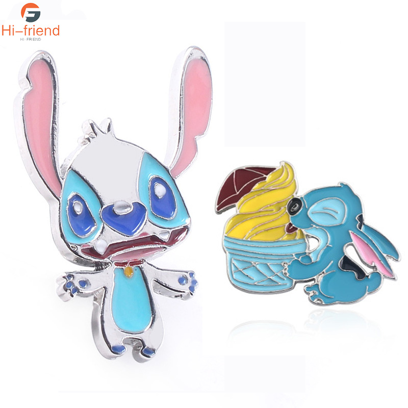 Lilo and Stitch Brooches White enamel pin lapel Cartoon Cute 626 Dog Badge Backpack Bag Jewelry