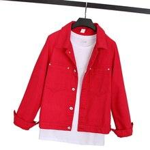 Chaqueta vaquera 2020 primavera nueva mujer Harajuku moda delgada básica capa femenina Vintage Jean chaquetas Casual Denim chaqueta Rojo Negro