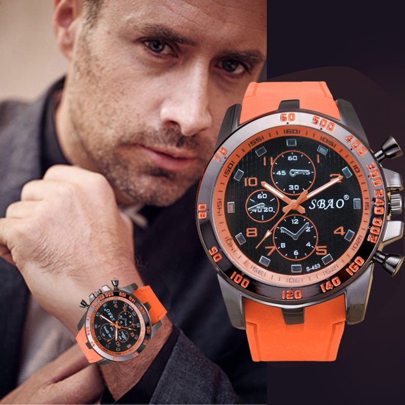 Simple Silicone Strap Stainless Steel Lux Orange Sport Watch Analog Quartz Watch Modern Men Fashion Wrist Watch Erkek Kol Saati