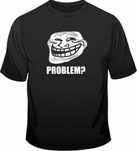 Troll face meme 문제 게이머 웹 긱 funny mens loose fit 코튼 티셔츠 breathable tee shirt(China)