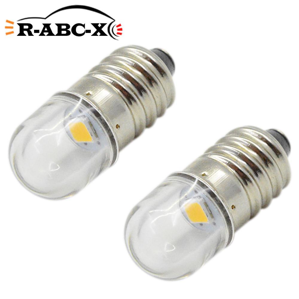 2pcs Miniature LED Light 3V 6V 12V Mini Lamps E10 P13.5S Base Small Industrial Instrument LED Bulbs Warm White Lionel 1447